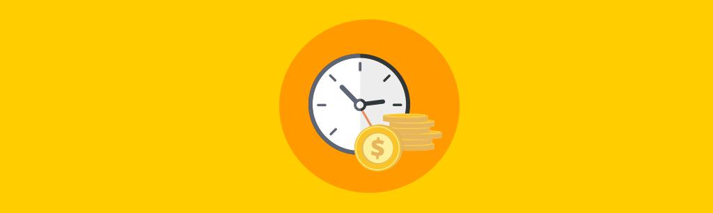 relogio e moedas representando que tempo e dinheiro