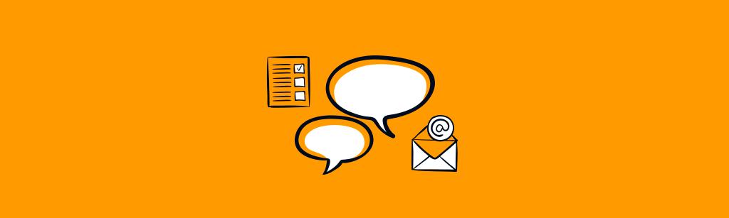 ícones como do email, balões de diálogo e checklist para representar a sigla GPCT
