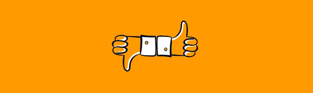 mao com dedo positivo e outra com dedo apontado para baixo representando as letras B de buget e A de authority