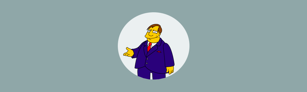 Joe Quimby personagem do simpsons representando a persona orientada a desconto