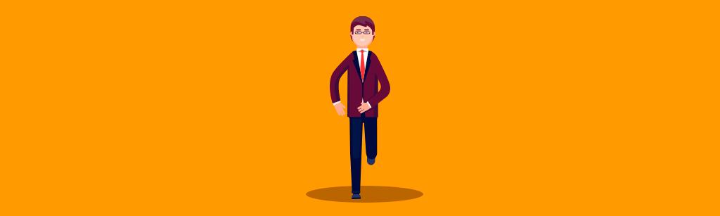 homem de negocios correndo em busca de insights