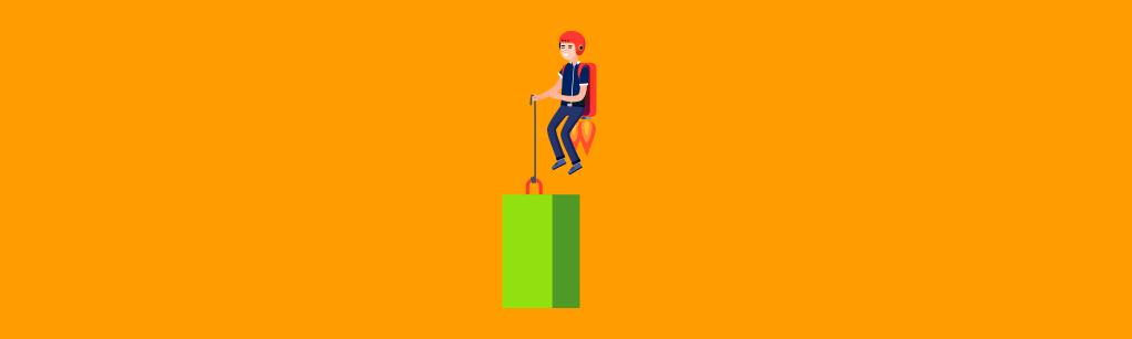 homem de negocios escalando a estatistica com uma mochila de foguete nas costas para representar hobbie