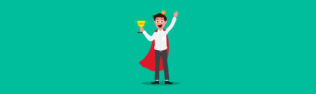 cliente feliz e segurando um trofeu para representar seu sucesso