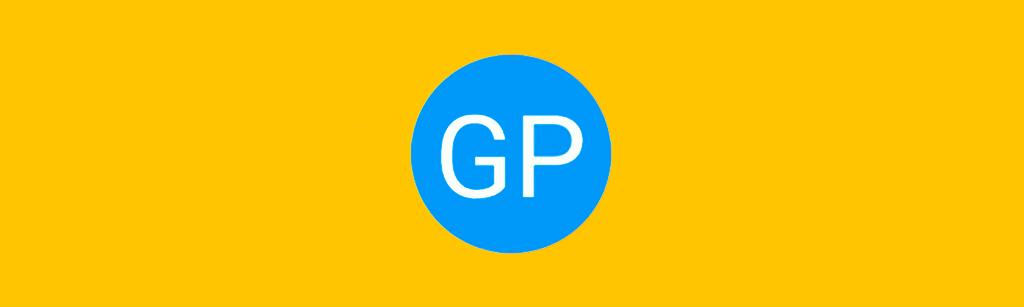 logotipo da marca e um circulo azul e no centro as siglas da marca get prospect